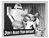 Birthday Card, Robots, Birthday Cards, black and white, Retro Robot, Scifi art, Retro Card, Birthday Cake, alternate histories, geekery