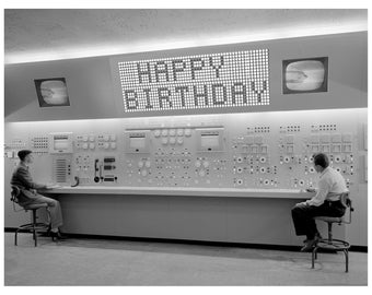 Birthday Card, Retro Computer, Birthday Cards, black and white, Scifi art, Retro Card, 1950s, Birthday, alternate histories, geekery