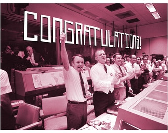 Congratulations, Mission Control, Nasa, Congratulations Card, SciFi, Retro, Greeting Card, Alternate Histories, Geekery, Apollo 13