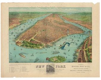 Digital Print, New York City, sea monster, kaiju, monster art, geekery, manhattan, alternate histories, Manhattan Map, New York