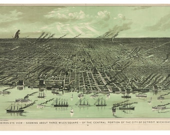 Digital Print, Detroit, monster art, kaiju, Detroiti Art, geekery, kaiju print, alternate histories, Detroit Print, Michigan, vintage map