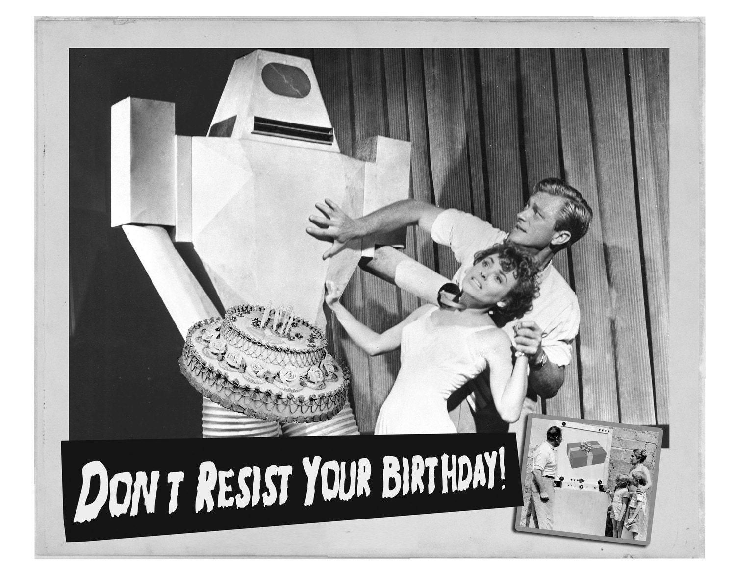 Birthday Card Robots Birthday Cards black and white Retro – Black and White Birthday Card