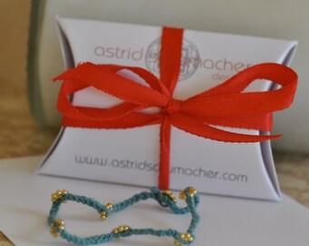 Stretchy Friendship Bracelet with Gold Vermeil Flower Beads