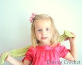 Crochet Scarf Sage Green with pink flower. Organic cotton, Very Cute, Elegant and Cozy. Toddler, child scaves. You pick the color.