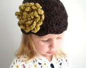 Organic Cotton Scallop Girl Hat with Coral flower - Espresso, Olive. Back to school. Photogrophy prop.