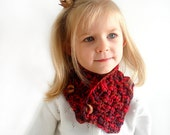 Girl Boy Unisex Neckwarmer, Childs Scarf, Organic Cotton Cowl, Natural Wooden Buttons Size 2 Gift under 25 Christmas Birthday present.