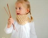 Childs Scarf, Girl Neckwarmer, Organic Cotton Cowl, Eco Friendly Birthday present. size 2 Gift under 35, 50.