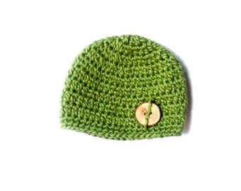 Organic Cotton Beanie Hat with Natural Wooden Button - Sage green, Great photo prop, Ready to ship