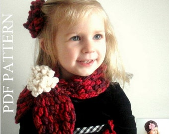 PDF PATTERN Crochet Girl Adult Cowl Neck warmer Scarf Flower Puffer Scarf Christmas Birthday gift(019)