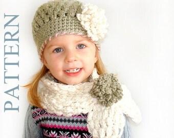 2 Patterns PDF Crochet Hat Scarf Newborn Infant Toddler Girl Adult Flower Cowl Neckwarmer.Australia (017, 019)
