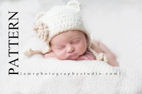 Pattern pdf Crochet Three Little Bear Earflap Hat. Flower. Photography Prop. 4 sizes. (013)Permission To Sell Finished Items