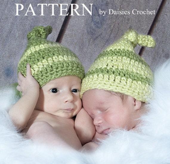 Crochet pdf Pattern Peas in a Pod baby hat. 6 Sizes: American