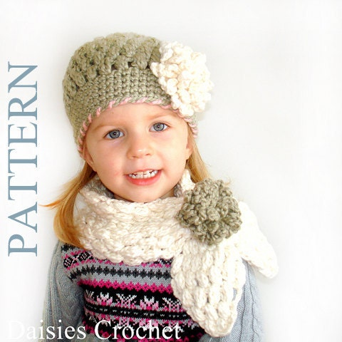 2 Patterns Pdf Crochet Hat Scarf Newborn Infant Toddler Girl