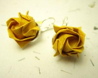 Gold Yellow Origami Rose Earrings, Origami Jewelry, Asian Jewelry, Japanese Earrings, Paper Rose Earrings, Lolita Jewelry, Geisha Earrings