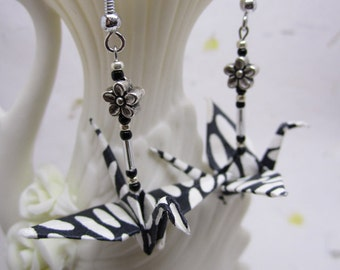 Black and White Origami Crane Earrings, Origami Jewelry, Japanese Earrings, Handmade Asian Paper Jewelry