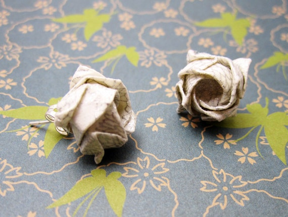 Origami Rose Earring Studs White and Silver Handmade Birthday // Anniversary // Valentines