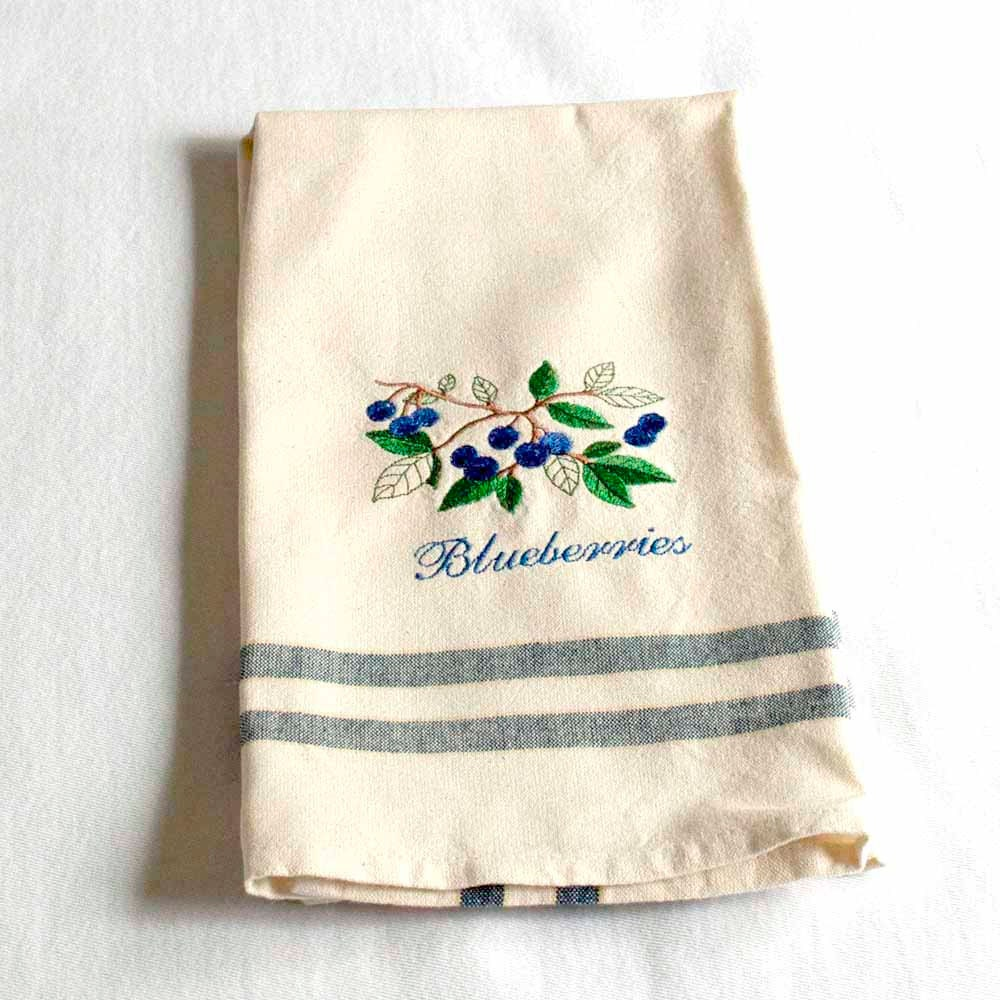 Kitchen Towels: Blueberries Tea Towel Embroidered Kitchen Towel By