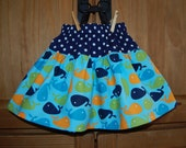 Urban Zoologie Whale Summer Twirl Skirt, 6m, 12mth, 2t, 3t, 4t, 5t, 6, 7, 8. Dress options available.