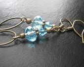 Aquamarine Glass Antique Bronze Oval Hoop Dangle Earrings
