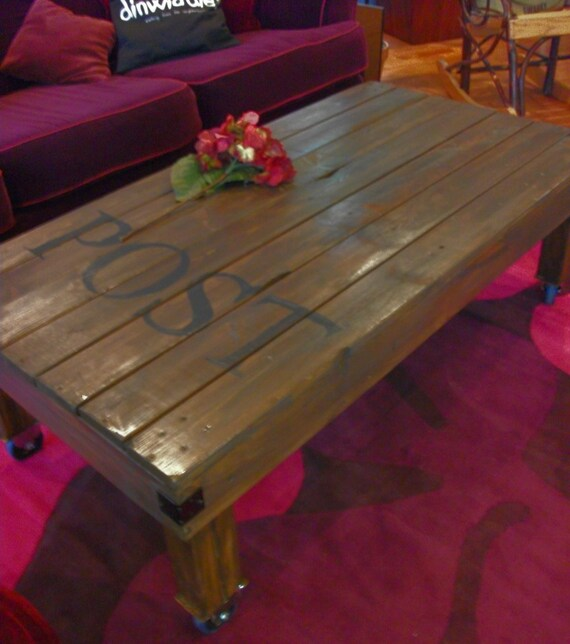 Industrial Rustic Factory Cart Coffee Table: Rustic Handmade Industrial Factory Cart Coffee Table