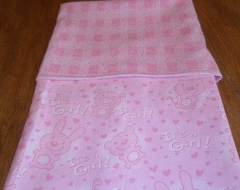 Baby Girl Blanket Pink Cotton and Flannel