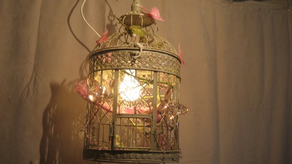 Bird Cage Chandelier butterflies pink whit and green light nursery shabby chic