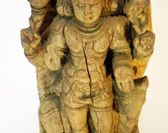 Free Shipping OOAK Vintage Antique Wooden Hindu Carving