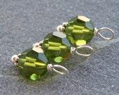 Olive Green Swarovski Sterling Bead Dangle Charms