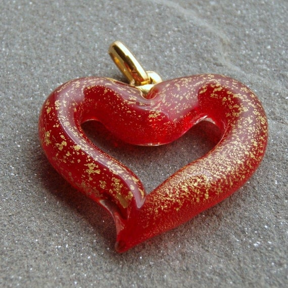 Ruby Red Gold Venetian Lampwork Heart