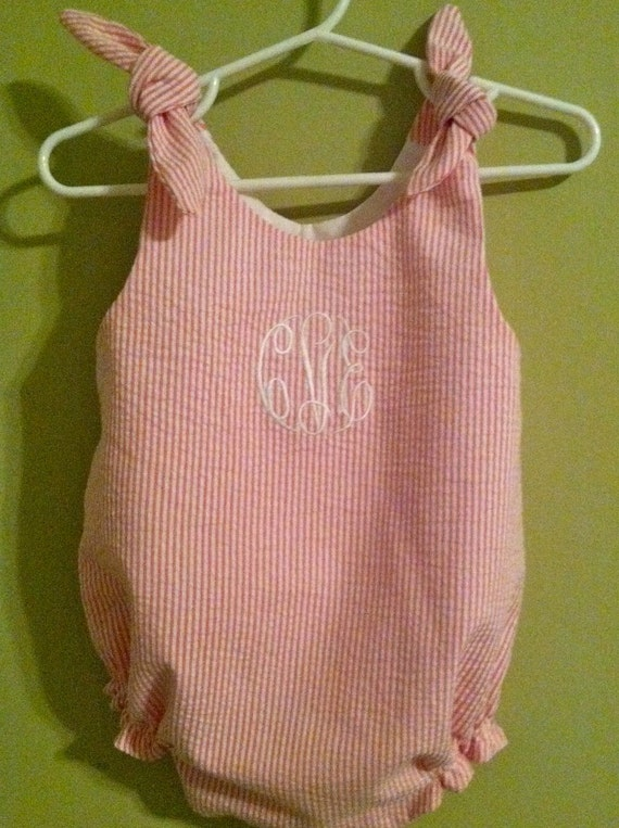 Girls Monogrammed Seersucker Bubble with Ties Multiple Colors Available