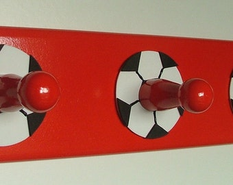 Red football wooden coat rack with 3 hooks