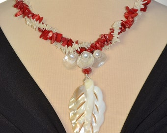 Mother of Pearl and Coral Statement Necklace With Red and White Twist
