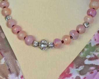 Flashy Chalcedony Gemstones and Sterling Silver Necklace With Tribal Twist