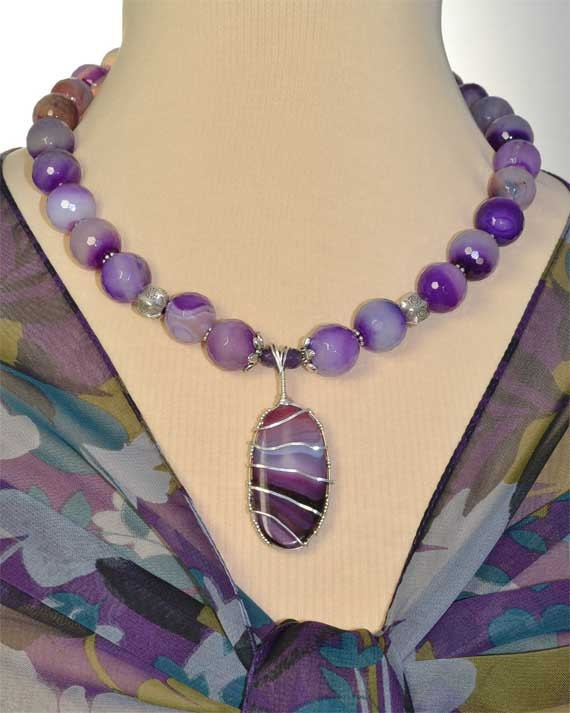 Statement Necklace, Sterling Silver Wire Wrapped Purple and  Blue Druzy Pendant Necklace