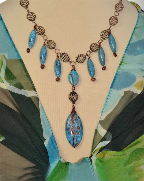 Handmade Blue with Brown Matrix  Larimar - Crazy Lace Wire Wrapped Pendant Necklace
