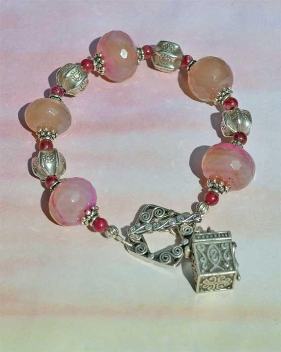 Prayer Box and Chalcedony Sterling Silver Treasure Bracelet