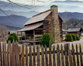 Appalachian Mountain Wood Cabin with Picket Fence by the Smoky Mountain National Park in North Carolina - A Fine Art Landscape Photograph