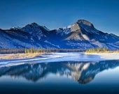 Snowcovered Mountain Range and water reflections in Jasper National Park in Alberta Canada No.0017 - A Fine Art Landscape Photograph