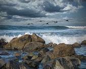 Pelicans flying over the surf on Coronado in San Diego California - A Bird Seascape Photograph