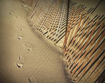 Footprints along a Sand Fence on the Lake Michigan Beach at Ottawa Beach by Holland Michigan No.136 A Fine Art Abstract Seascape Photograph