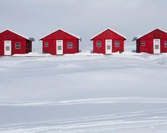 Four Red Cabins in the Snow during Winter in the Upper Peninsula of Michigan No.0249 - A Fine Art Landscape Photograph