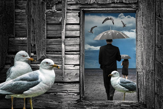 Weathering the Gulls is a Surreal Photographic Composite of a couple walking on the beach with umbrellas and gulls