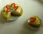 Dollhouse Miniature Polymer Clay Banana Cream Pie with Strawberries Banana Slices with whipped Cream pastry SALE