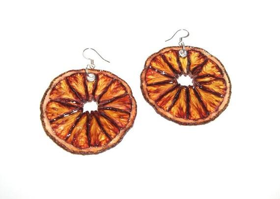 Blood Orange Earrings - Fruit Jewelry