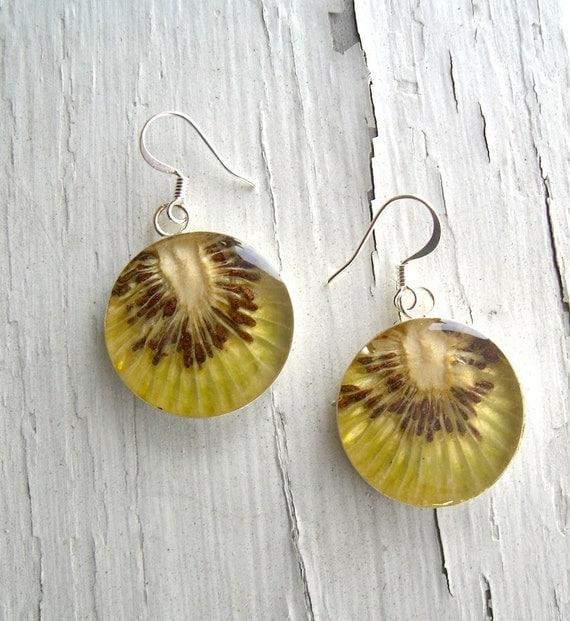 Real Kiwi Earrings - Fruit Jewelry