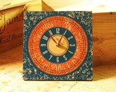TUSCAN SUNSHINE: 8in Square Wall Clock in Burnt Orange & Teal. Kitchen Decor. Office Clock. Rustic Clock. Tuscan Decor. Ready to Ship