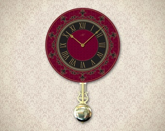 Wall Clock with Pendulum in Burgundy Red, Black. 14 inch. Tuscan Decor. Custom Clock. Home Decor. Large Wall Clock. Ready to ship.