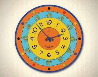 SAMMY - 14in Kids Clocks in Blue, Yellow , Orange. Children Wall Clock. Nursery Decor. Educational Toy. Custom Nursery Decor. Ready to Ship