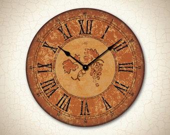 SIENA - 18in Large Wall Clock in Burnt Orange & Black. Wine Clock. Custom Clock. Rustic Clock. Kitchen Decor. Wedding Gift. Rustic Decor
