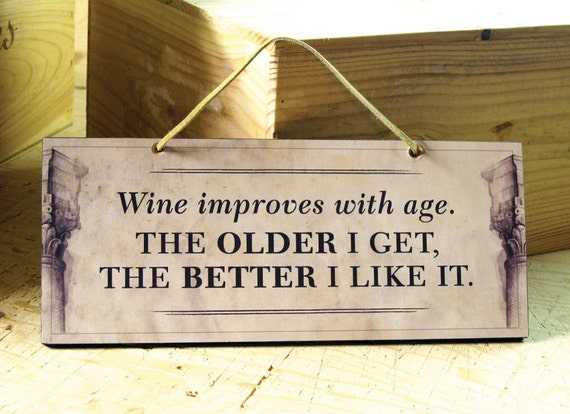 Decorative Wall Sign With Funny Wine Saying In Beige And